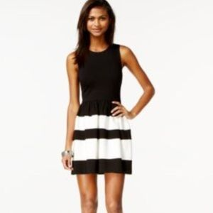 Bar III fit and flare striped dress XS